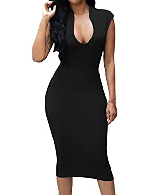 Huusa Womens Low V Neck Sleeveless Bodycon Cocktail Party Midi Dress