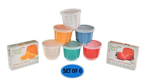 HOME-X Plastic Dessert Molds with Lids, Reusable Cups for Jello, Gelatin, Ice Cream -