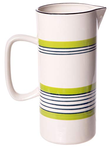 Spouted Handled Casual Country - 36 ounce - Glossy Ceramic Stoneware Pitcher with Green and Blue Stripes
