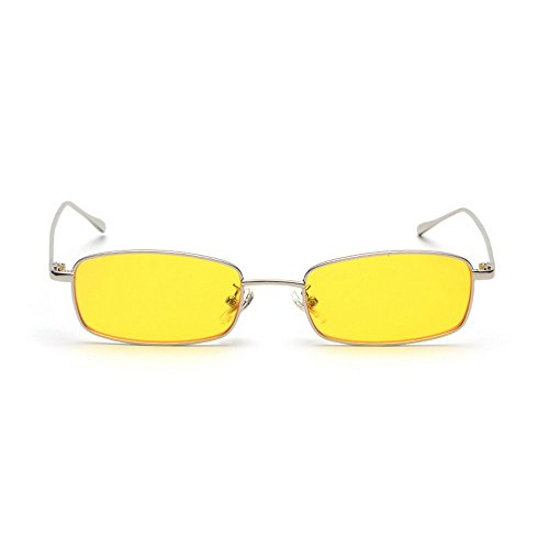 MINCL/Unisex Small Rectangle Sunglasses Red lens Yellow Metal Frame Clear Lens Sun Glasses (silver-yellow) (Sunglasses Rectangle)