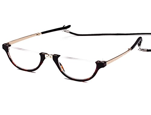 Agstum Mens Womens Half Moon Foldable Reading Glasses with Case (Tortoise shell, - Lens Half Men Reading Glasses