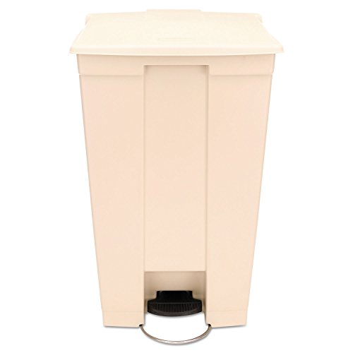 Rubbermaid Step-On Wastebasket - 23 gal Capacity - Round - 32.5'' Height - Resin, Stainless Steel - Beige by Rubbermaid Commercial