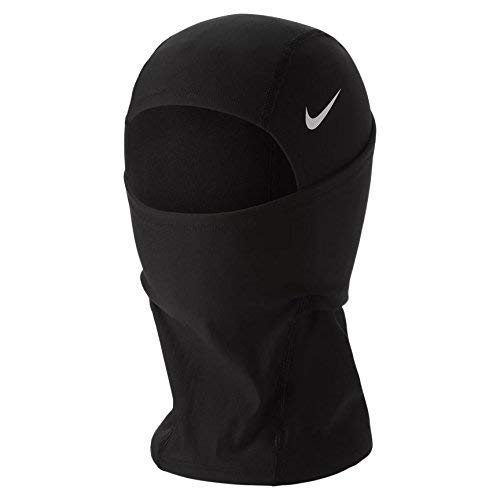 Nike Pro Hyperwarm Hood, One Size Fits Most, Adult (Black/White) (Face Mask Nike)