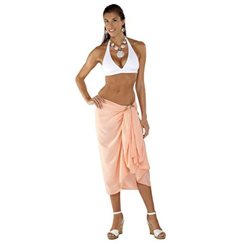 a323ed0db9 1 World Sarongs Womens Fringeless Swimsuit Cover-up Solid Sarong in Coral  durable service
