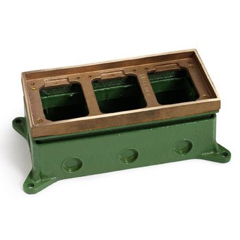 Lew Electric 1103-58 Floor Box, Triple Gang Adjustable Deep Stamped - Brass