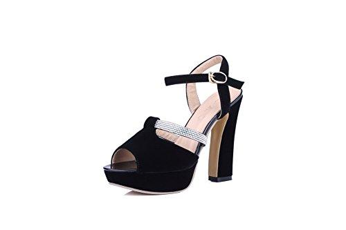 Amoonyfashion Hebilla Para Mujer De Tacón Alto Imitación De Gamuza Sandalias Con Punta Abierta Peep-toe Negro