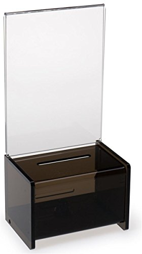 Set of 4, Locking Drop Box w with Clear Acrylic Sign Display for 5'' x 7'' Graphics, Donation Box Designed for Countertop Use, Black Acrylic Keeps Donations Anonymous by Displays2go