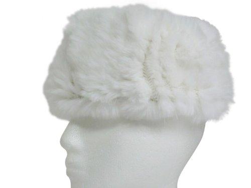 Ivory White Rex Rabbit Elastic Headband & Neck Warmer
