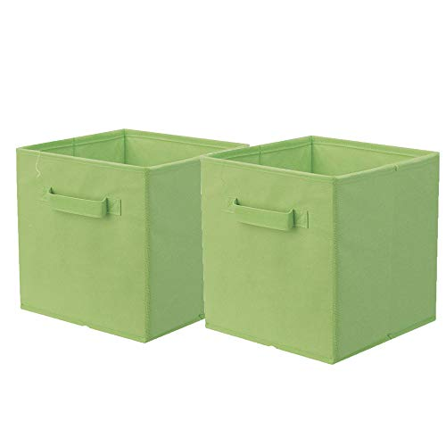ShellKingdom Storage Bins, Foldable Fabric Storage Cubes and Cloth Storage Organizer Drawer for Closet and Toys Storage,2 Pack(Green)