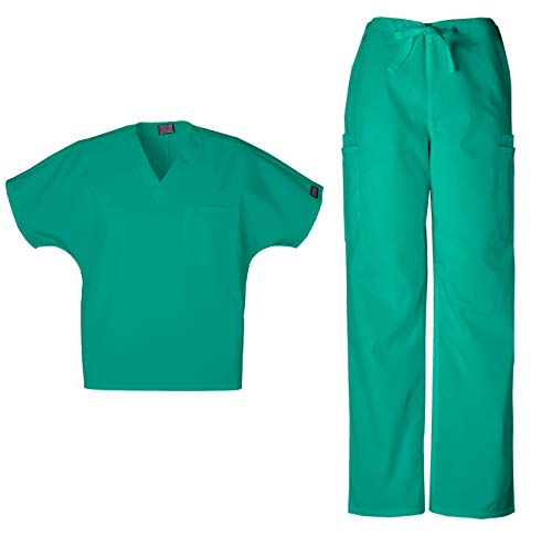 - Cherokee Workwear Men's Dental/Medical Uniform Scrub Set - 4777 V-Neck Scrub Top & 4000 Drawstring Cargo Pants (Surgical Green - X-Large/X-Large)