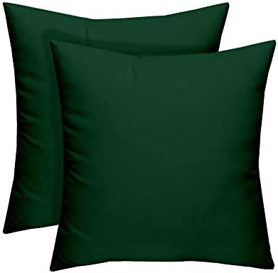 "Resort Spa Home Decor Set of 8 - Indoor/Outdoor Square  Decorative/Accent/Throw/Toss Pillows - Solid Hunter/Forest Green - Choose  Size (8"" x 8"")"