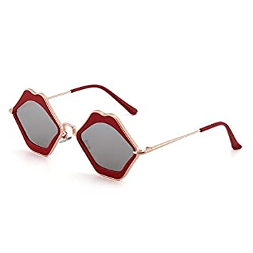 3128769d5c4 2018 women s lips sunglasses cool sunglasses funny little face korean  personality influx people visor mirror (anti-red frame silver sheet   Amazon.ca  Home   ...
