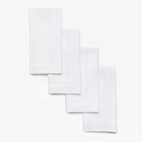 db7140b951a95 Solino Home Hemstitch Linen Napkins - 20 x 20 Inch, White Set of 4 European  Flax Dinner Napkins - Machine Washable Classic Hemstitch - Natural Fabric,  ...