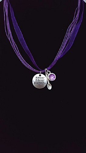 Handmade Fibromyalgia Never Give Up Purple Organza Cord Necklace With Spoon Charm