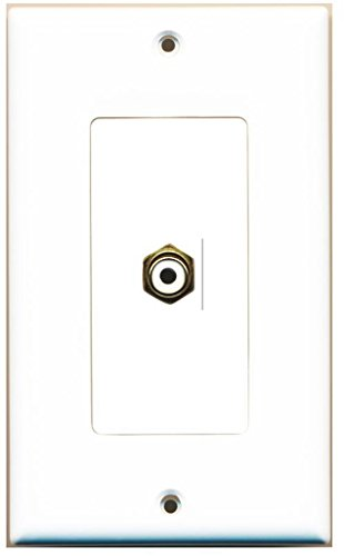 RiteAV - 1 RCA White for Subwoofer Audio Port Wall Plate Decorative - - Rca Wall Outlet Modular