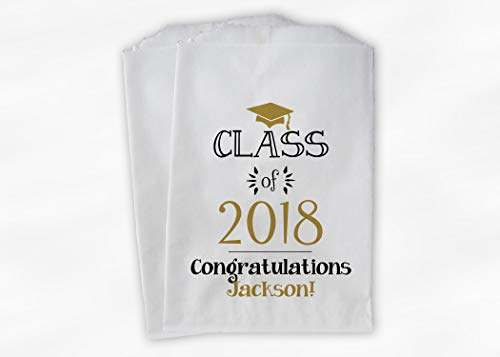 (Graduating Class of 20XX Graduation Party Favor Bags for Candy Buffet with Cap in Black and Gold - Personalized Set of 25 Paper Bags (0214))