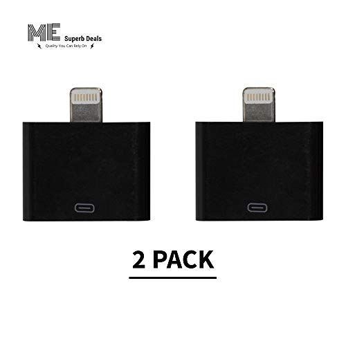 [ ME SUPERB DEALS ] 30 Pin Adapter Connector | Compatible with All Smartphones, Cellphones, Sound-Docks, Cars and More | Black (2-Pack)