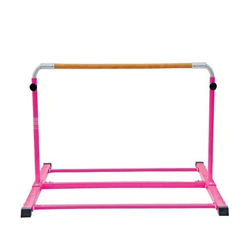 Modern-Depo Adjustable Junior Kip Bar 3'- 5' Gymnastics Horizontal Bar for Kids Home Training, Beech Wood Crossbar, Pink by Modern-Depo (Image #2)