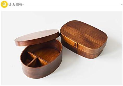 CAOLATOR Bo/îtes Bento avec 3 Compartiments Bois Japonais Ellipse Lunch Box Herm/étique Bo/îte /à Repas pour Adultes ou Enfants Brown