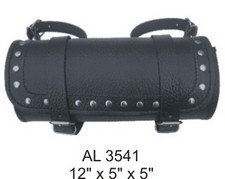 Studded Round Tool Bag in Cowhide Leather with Pebble Grain - Pebble Finish