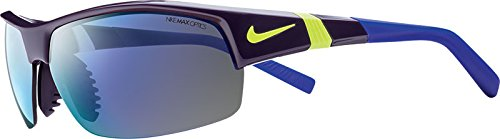 Nike EV0822-575 Show X2 R Sunglasses (One Size), Cave Purple/Volt/Dark Concord, Grey with Violet Flash/Grey - Tennis Sunglasses Nike