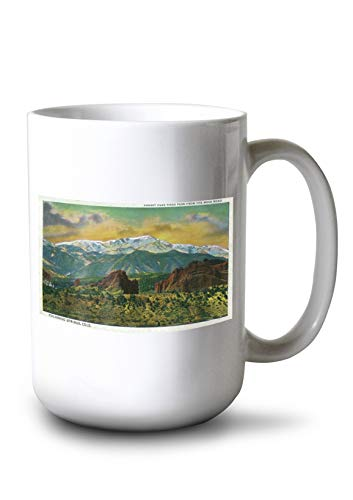 (Lantern Press Colorado Springs, CO - Sunset Over Pikes Peak View from The Mesa Road (15oz White Ceramic)
