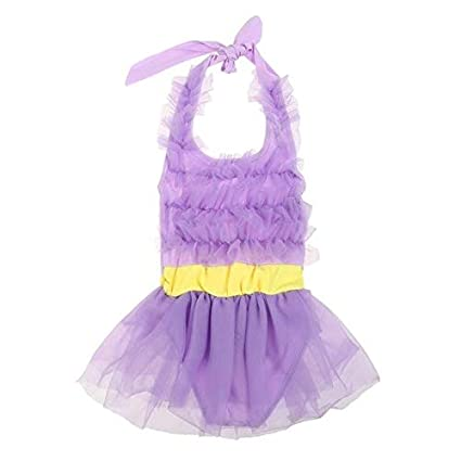 Value-Home-Tools 4-6Y Sweet Lace Girl Swimsuit Summer Beach One Piece Swimwear Kids Girls Bathing Suit Gauze Sunsuit Pink Purple