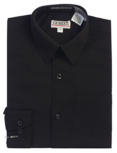 Gioberti Big Boys' Long Sleeve Dress Shirt, Black, (Black Boys Long Sleeve Shirt)