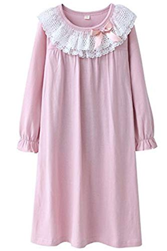 HOYMN Girls' Lace Nightgowns & Bowknot Sleep Shirts 100% Cotton Sleepwear for Toddler 3-13 Years (11-12 Years/Tag 170, Round lace Pink)