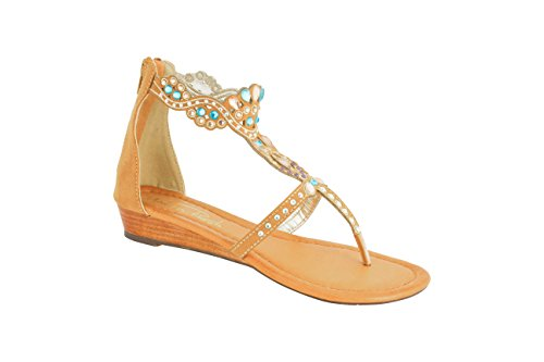 Modern Rush Womens Adina Low Wedge Open Toe Sandal with Rhinestones