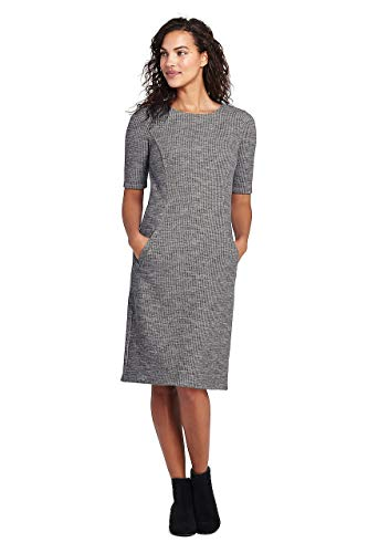 Print Ponte Knit Dress - Lands' End Women's Petite Ponte Knit Sheath Print Dress with Elbow Sleeves, 12, Charcoal Heather