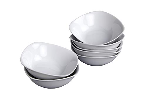 Klikel 8 Pack 14oz Porcelain Dessert Bowls | White Square Ice Cream And Fruit Dinnerware Dessert Bowl Set | 5.5-inch - Small Square Bowl Fruit