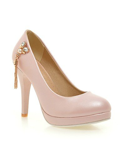 GGX/Damen Schuhe PU/Fleece Sommer-/, Round Toe Heels Büro & Karriere/Casual Stiletto-Absatz Kette schwarz/rosa/rot/beige black-us9.5-10 / eu41 / uk7.5-8 / cn42