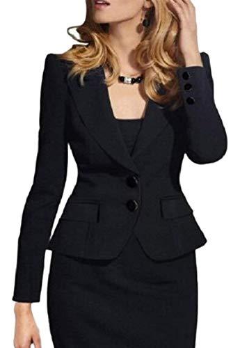 Fit Schwarz Outerwear Femme Office Couleur Automne Longues Slim Mode Manches Unie Simple Courte Blazer Veste Manteau Chic Revers Boutonnage lgant xHqgPxS