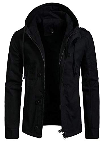 Nero Con Inverno Il Cappuccio Cappotto Tasto Outwear Cotone Mens Ttyllmao Autunno Giacca In Giù WvB778