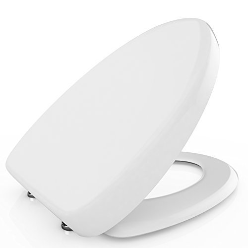 Dorfin Premium Elongated Toilet Seat with Cover, White - Slow Close, Quick Release for Easy Cleaning. Fits All Elongated Toilets