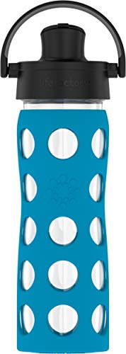 Lifefactory 16-Ounce BPA-Free Glass Water Bottle with Active Flip Cap and Protective Silicone Sleeve, Teal Lake (16 Oz Water Bottle Bpa Free)