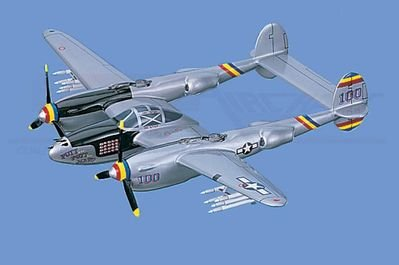 "P-38J   Lightning, ""Putt Putt Maru"", Loaded Airplane Model Toy. Mahogany Wood Model Aircraft Scale: 1/32"