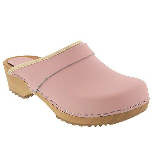Bjork Maja Wood Clogs in Pink Leather
