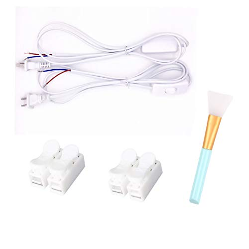 Anti Shock Light - Power Cord Set with Molded Plug+Quick connection anti-shock terminal block+Magic Epoxy Brushes for Glitter Tumbler Lamp Cord Has Button switch, Plug,Stripped Ends Ready for Wiring -6 FOOT White (2, A)
