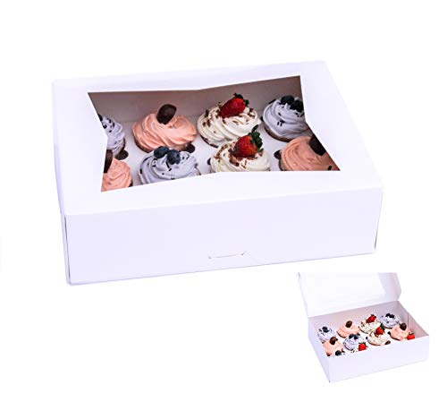 SKKH Bakery Cupcake Boxes Double Strength. Disposable Bakery Boxes with Window and Insert. Holder for 12 Cupcakes or Muffins. Used as Professional Cookie Box | Cake Gift Box.