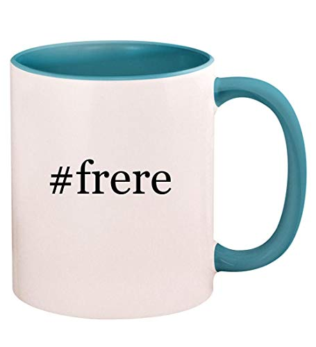 #frere - 11oz Hashtag Ceramic Colored Handle and Inside Coffee Mug Cup, Light Blue (Best Hashtags For Wedding Industry)