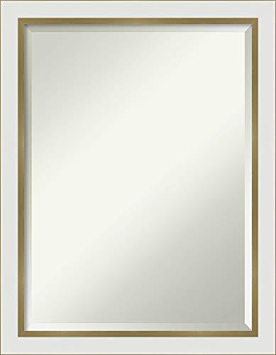 Amanti Art Vanity Bathroom Eva White Gold Narrow Frame | Wall Mounted Mirror, Glass Size 18x24,