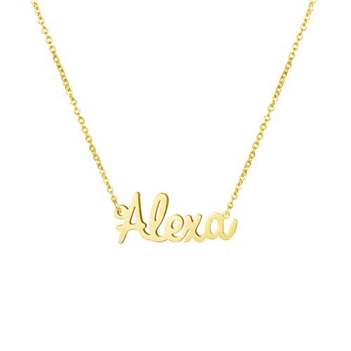 Yiyang Name Necklace 18K Gold Plated Stainless Steel Pendant Jewelry Birthday Gift for Girls (Alexa)