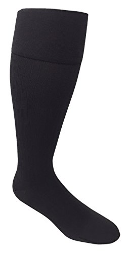 JOBST forMen Ambition Knee High with SoftFit Technology Band, 20-30 mmHg Ribbed Dress Compression Socks, Closed Toe, 5 Regular, Grey