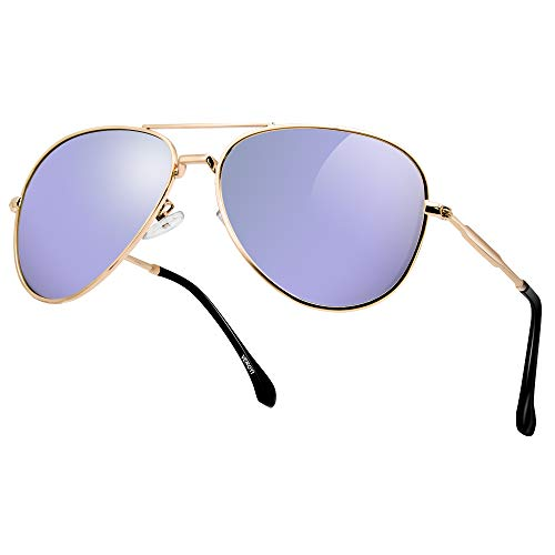 Veroyi 9110-C6 Fashion Polarized Aviator Sunglasses Pilot Eyewear for Men Women, 100% UV Protection. (Metal Frame: Gold; Lens: Light Purple) ()