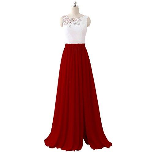 Annies Mariée Robe De Bal De Demoiselle D'honneur Robe De Mousseline De Perles Bijoux De Robe De Soirée Un Vin De Ligne Rouge