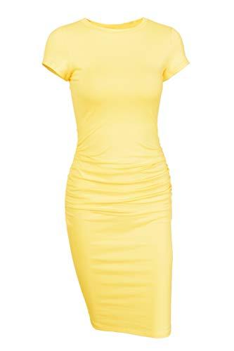 (Missufe Women's Short Sleeve Ruched Casual Sundress Midi Bodycon T Shirt Dress (Yellow, Small) )