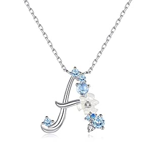 VIKI LYNN Sterling Silver Initial Necklace Cubic Zirconia Personalized Gifts for Girls Women
