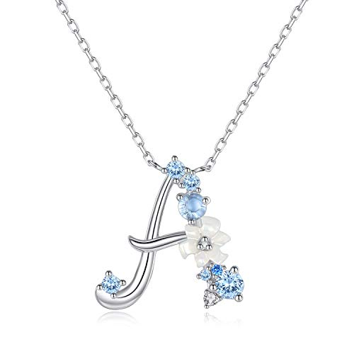 VIKI LYNN Initial Necklace 925 Sterling Silver Cubic Zirconia Letter Personalized Gifts for Girls